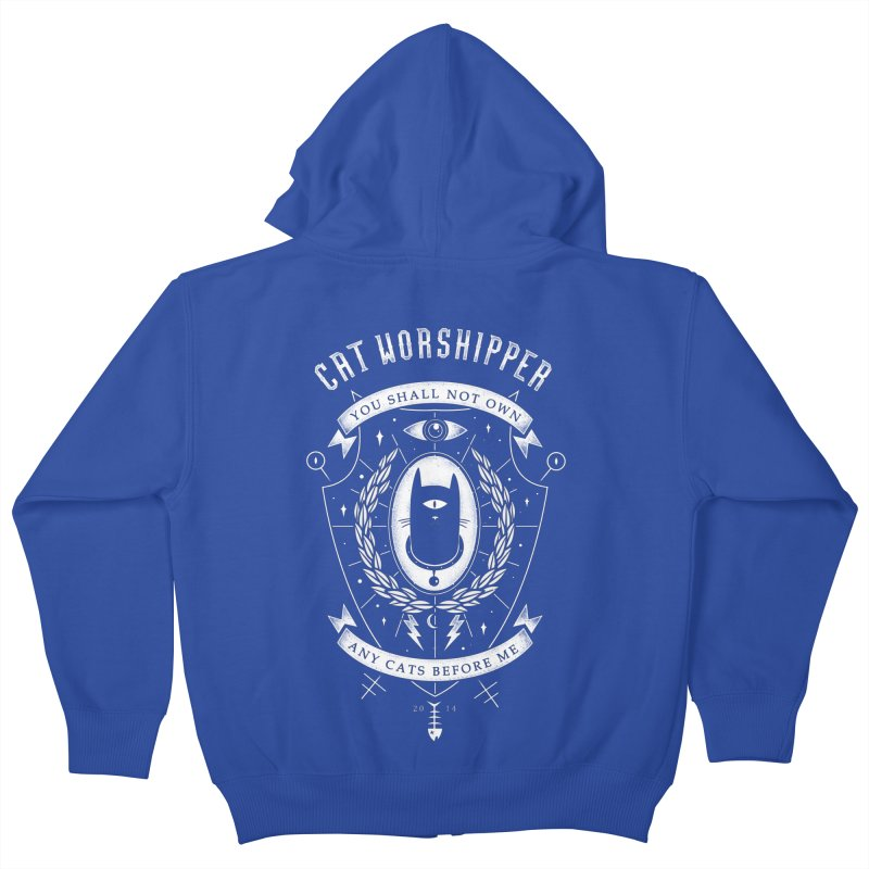 Cat Worshipper Kids Zip-Up Hoody by azrhon's Artist Shop