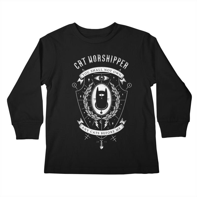 Cat Worshipper Kids Longsleeve T-Shirt by azrhon's Artist Shop