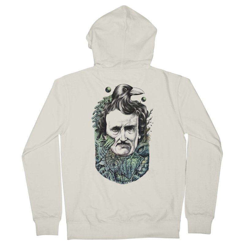 Edgar Allan Poe Men's Zip-Up Hoody by azrhon's Artist Shop