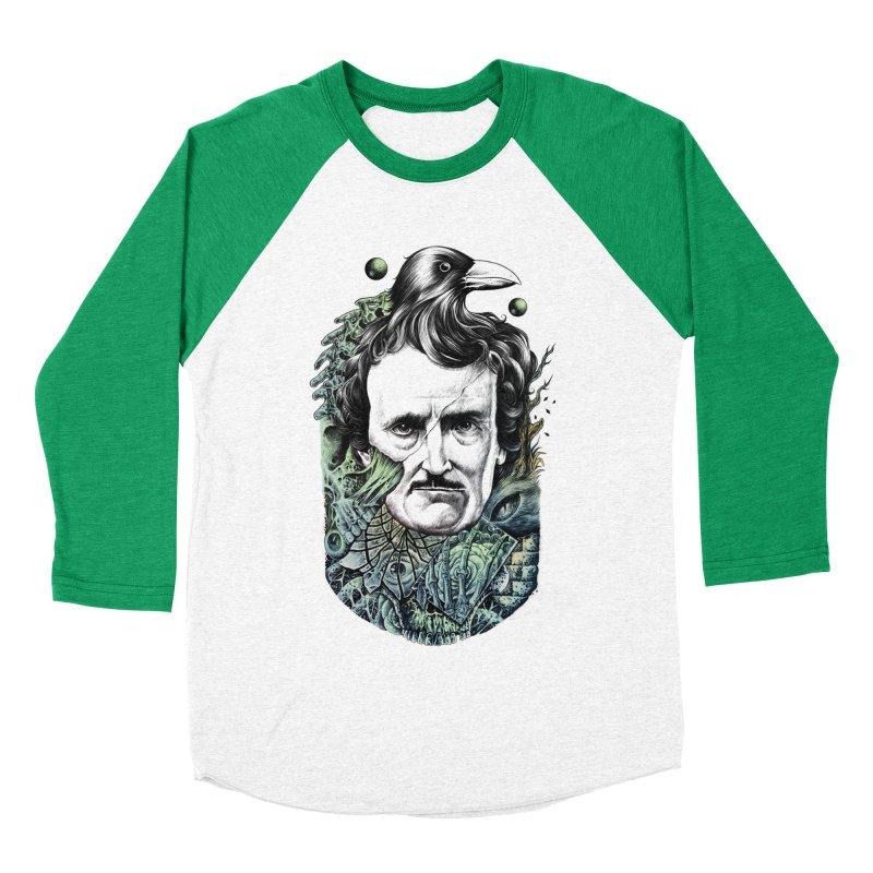 Edgar Allan Poe Men's Baseball Triblend T-Shirt by azrhon's Artist Shop