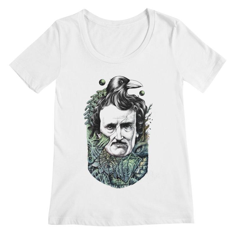 Edgar Allan Poe Women's Scoopneck by azrhon's Artist Shop
