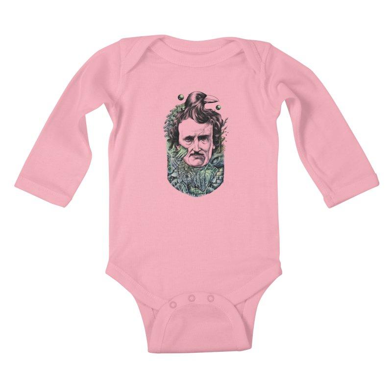 Edgar Allan Poe Kids Baby Longsleeve Bodysuit by azrhon's Artist Shop