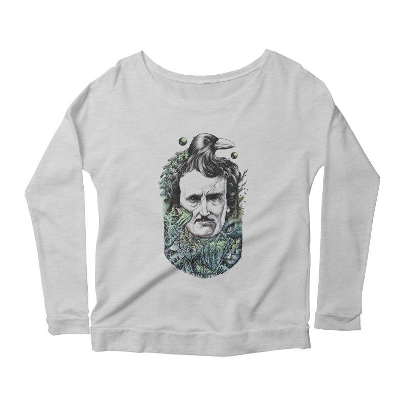 Edgar Allan Poe Women's Longsleeve Scoopneck  by azrhon's Artist Shop