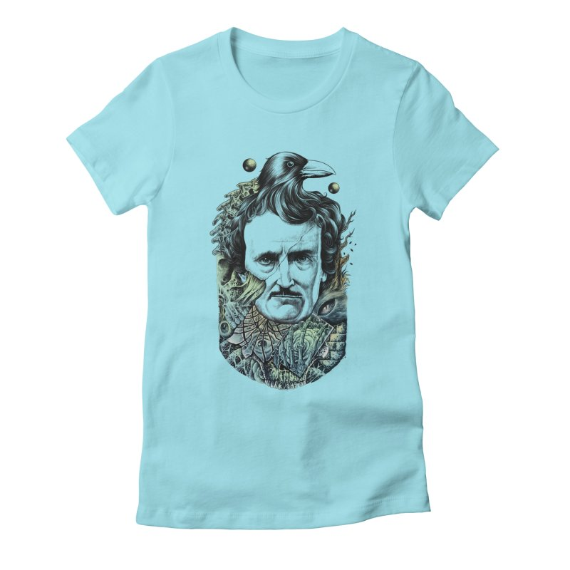 Edgar Allan Poe Women's Fitted T-Shirt by azrhon's Artist Shop