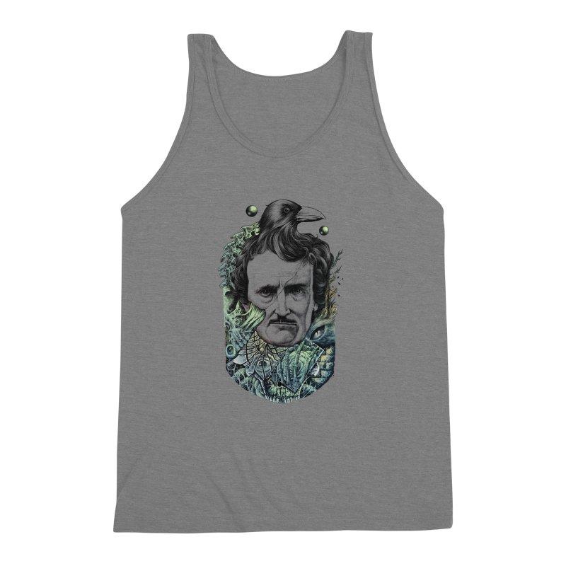 Edgar Allan Poe Men's Triblend Tank by azrhon's Artist Shop