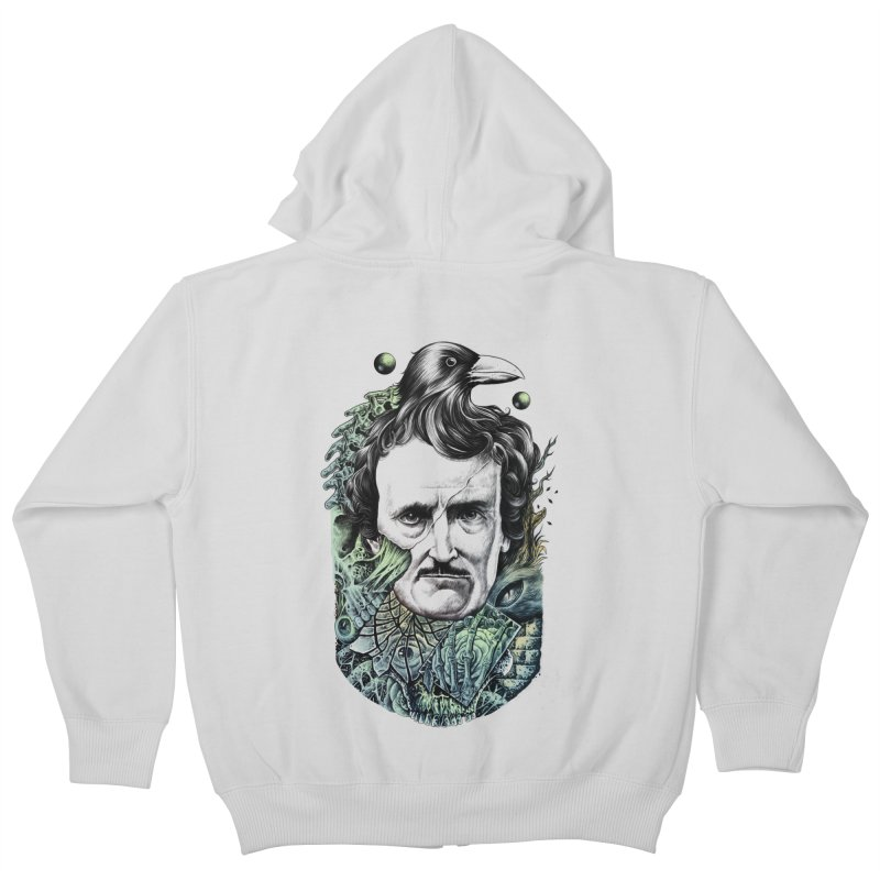 Edgar Allan Poe Kids Zip-Up Hoody by azrhon's Artist Shop