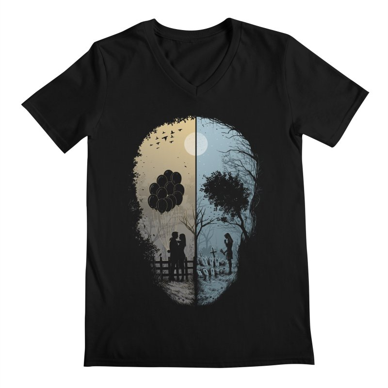 Skull Story Men's V-Neck by azrhon's Artist Shop