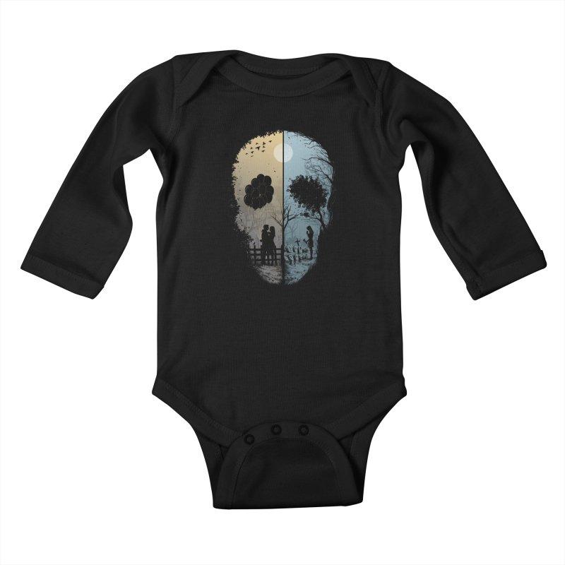 Skull Story Kids Baby Longsleeve Bodysuit by azrhon's Artist Shop