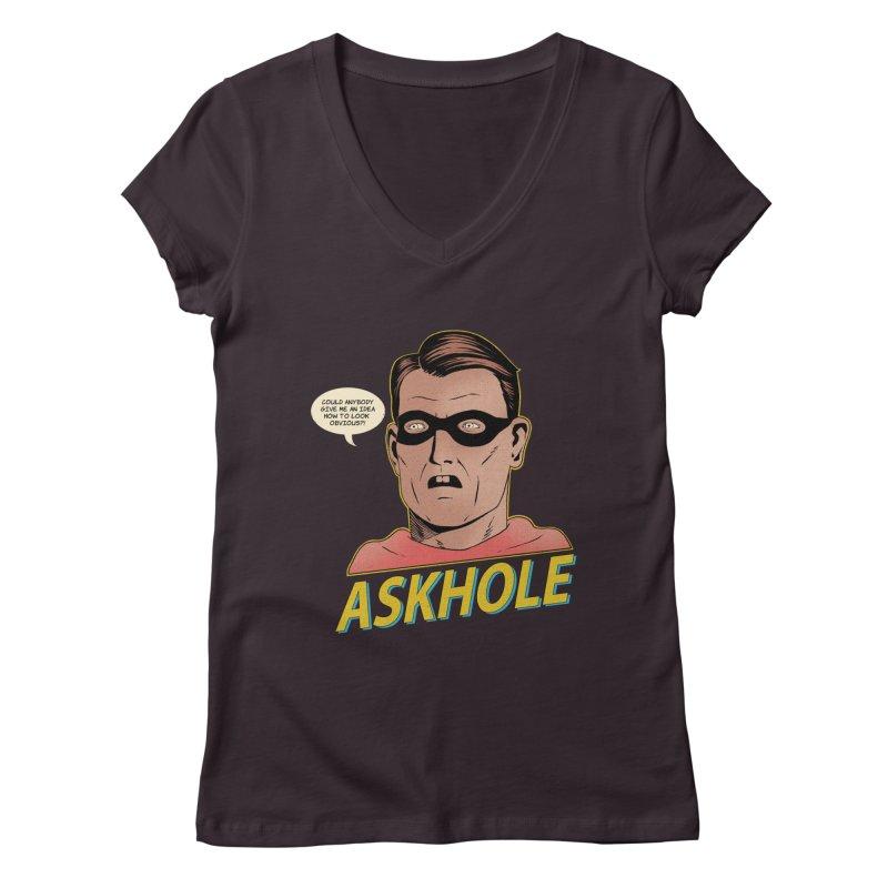 Askhole Women's V-Neck by azrhon's Artist Shop