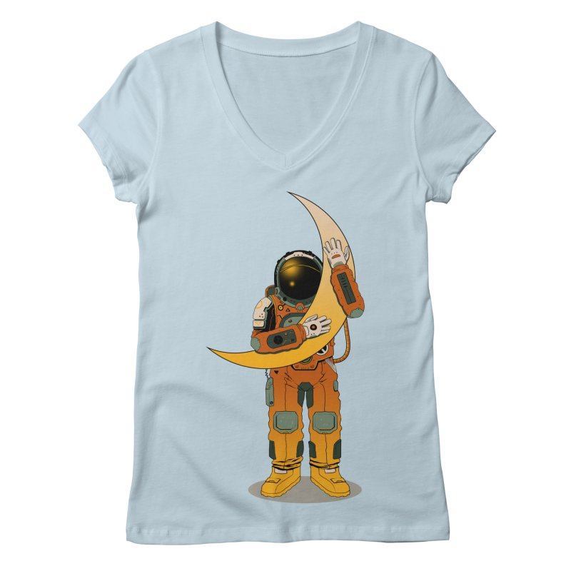 My Moon Women's V-Neck by azrhon's Artist Shop