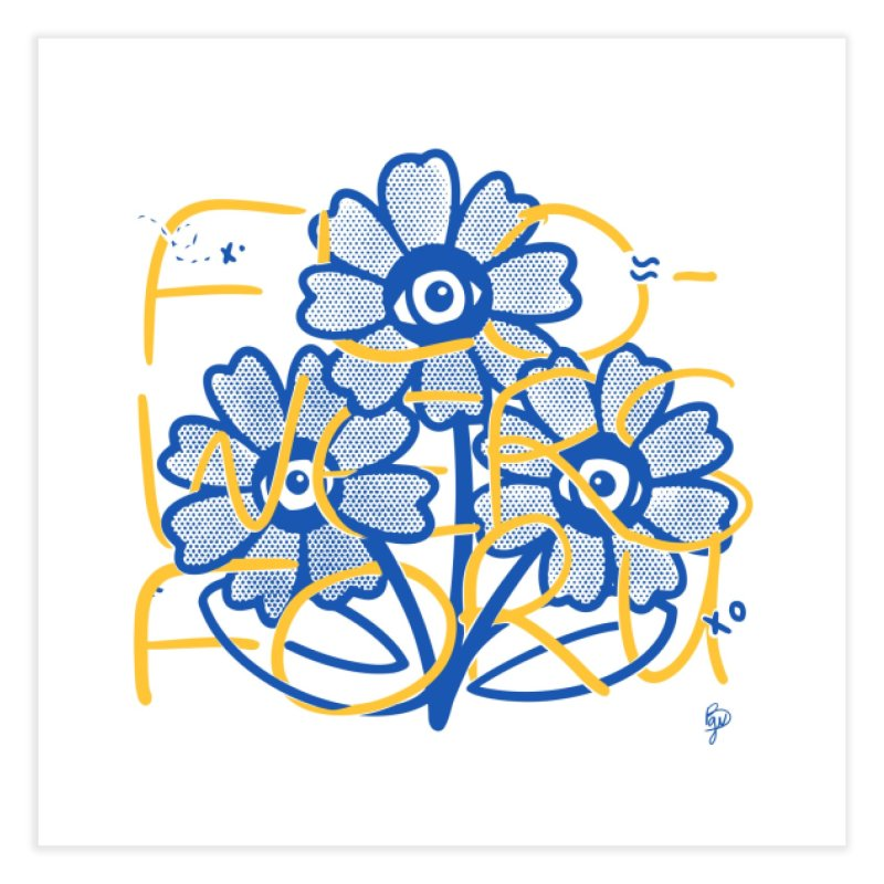 Flowers For You (Blue and Yellow) Home Fine Art Print by Vince Baarson's Artist Shop