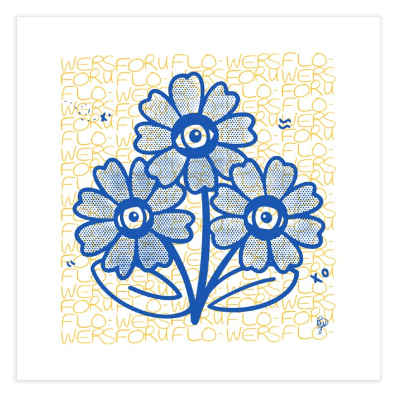 Flowers For You Pattern (Blue and Yellow) Home Fine Art Print by Vince Baarson's Artist Shop