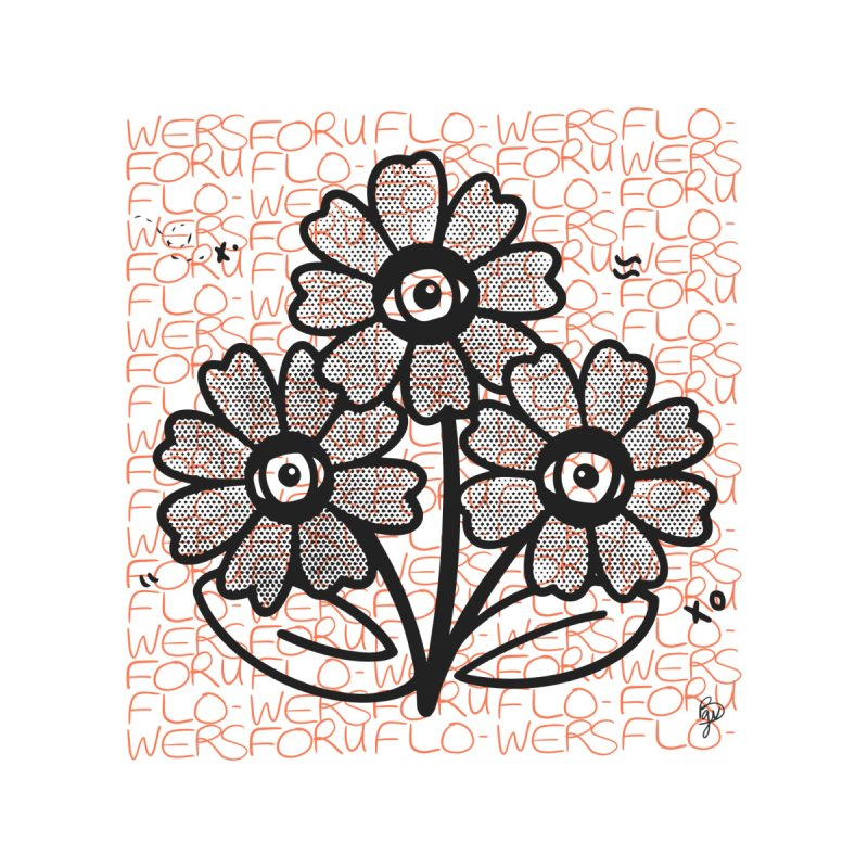 Flowers For You Pattern (Charcoal and Fruit) Home Fine Art Print by Vince Baarson's Artist Shop