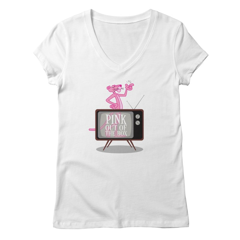 Pink Out of the Box Women's V-Neck by babu's Artist Shop