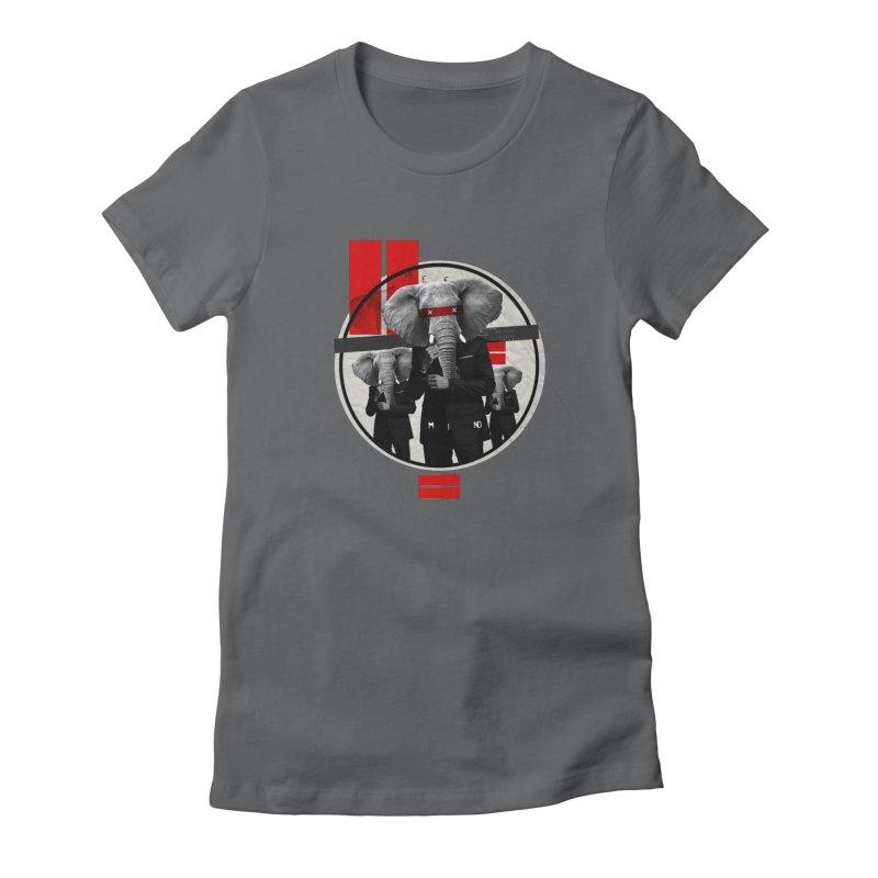 Elephants Women's Fitted T-Shirt by babu's Artist Shop