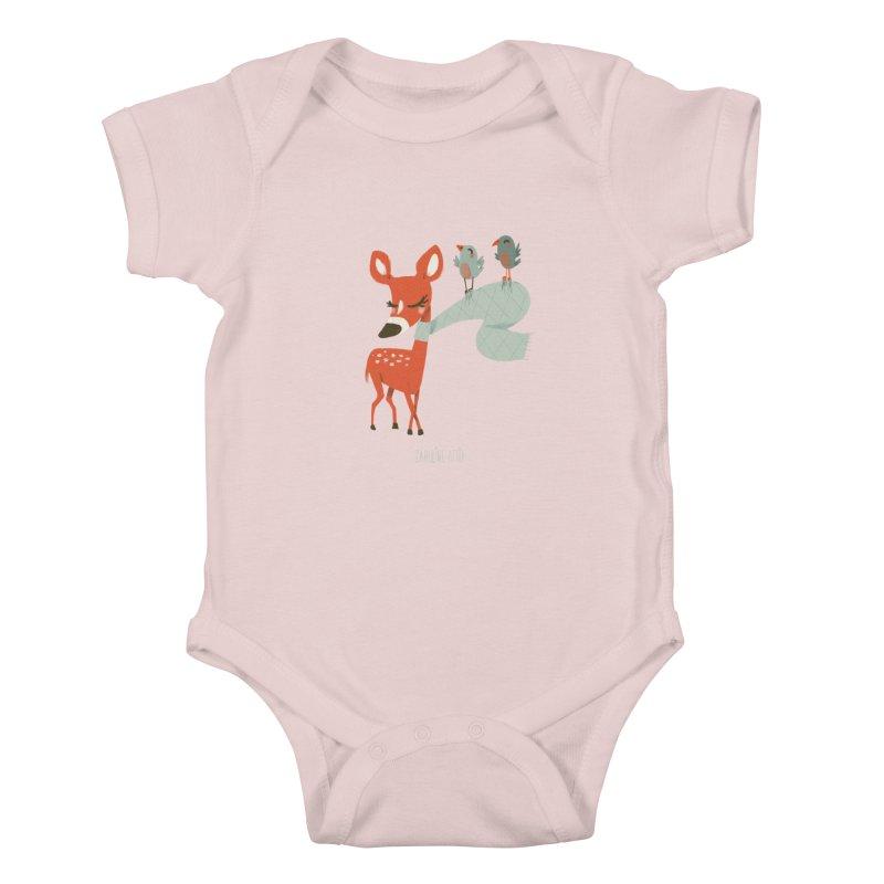 Winter Deer in Kids Baby Bodysuit Soft Pink by Babykarot Shop