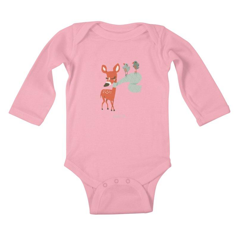 Winter Deer Kids Baby Longsleeve Bodysuit by Babykarot Shop