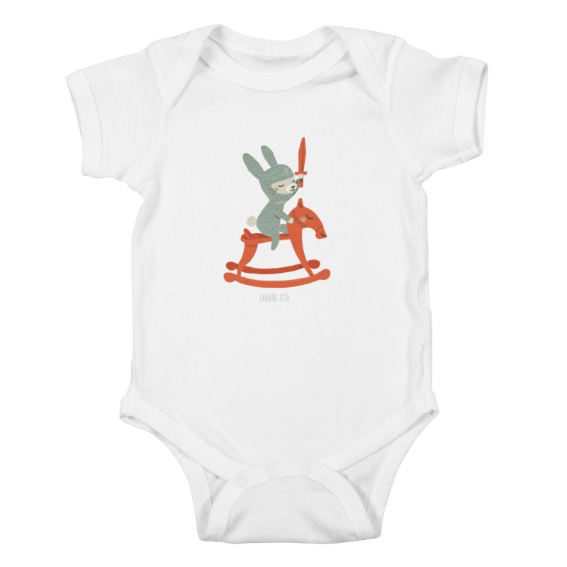 Rabbit Knight in Kids Baby Bodysuit White by Babykarot Shop