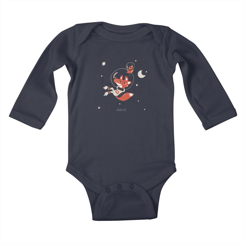 Space Fox Kids Baby Longsleeve Bodysuit by Babykarot Shop