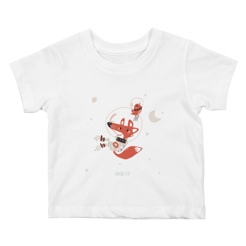Space Fox in Kids Baby T-Shirt White by Babykarot Shop