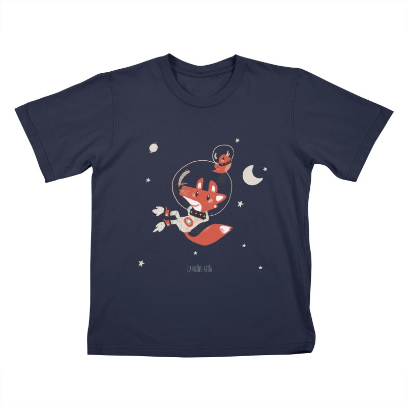 Space Fox Kids T-Shirt by Babykarot Shop