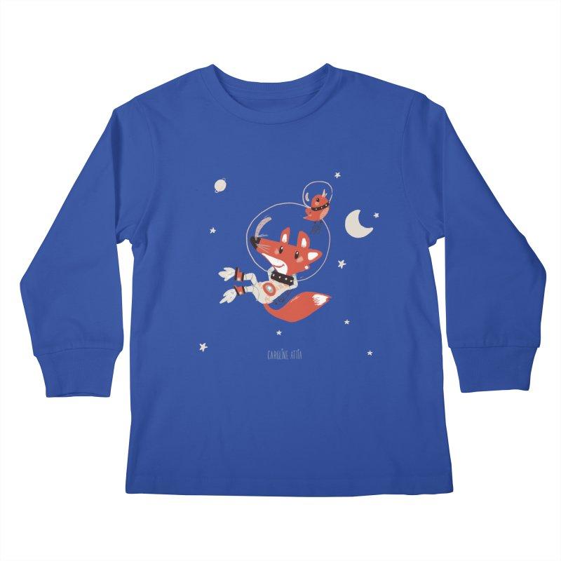 Space Fox Kids Longsleeve T-Shirt by Babykarot Shop