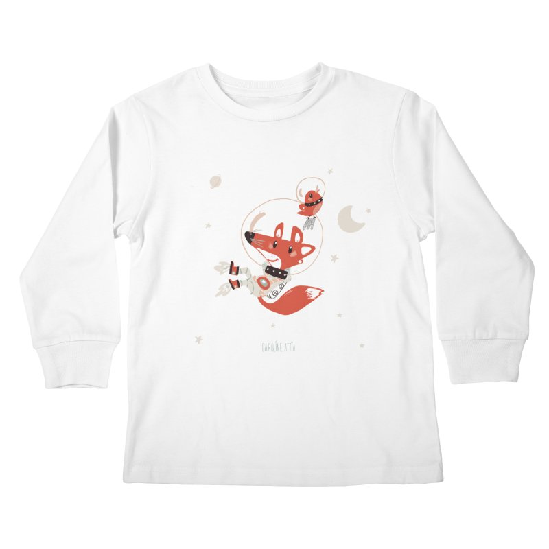 Space Fox Kids Longsleeve T-Shirt by Babykarot Shop