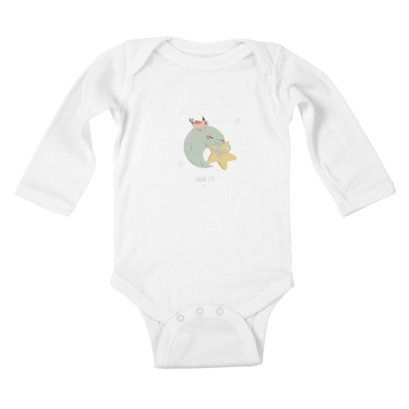 Moon Napping  in Kids Baby Longsleeve Bodysuit White by Babykarot Shop