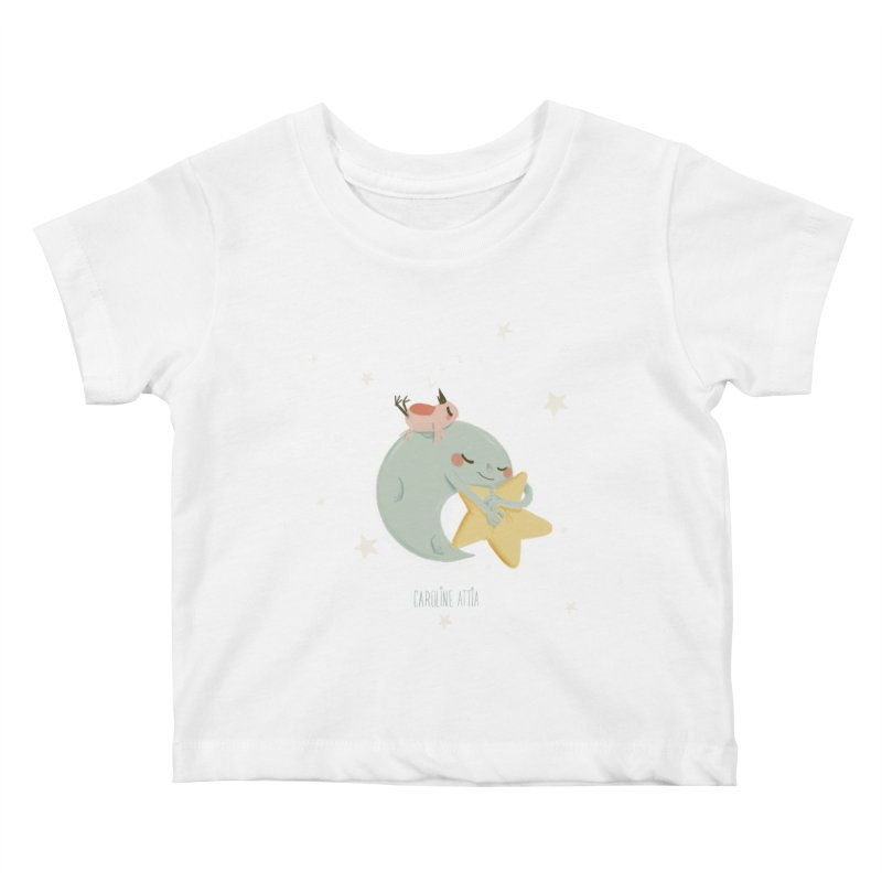 Moon Napping  Kids Baby T-Shirt by Babykarot Shop