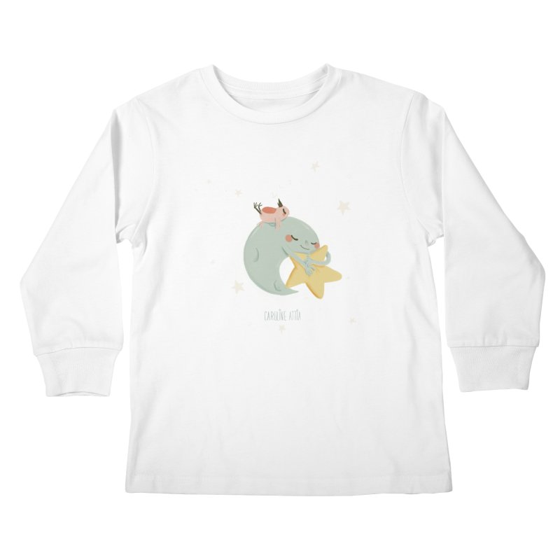 Moon Napping  Kids Longsleeve T-Shirt by Babykarot Shop