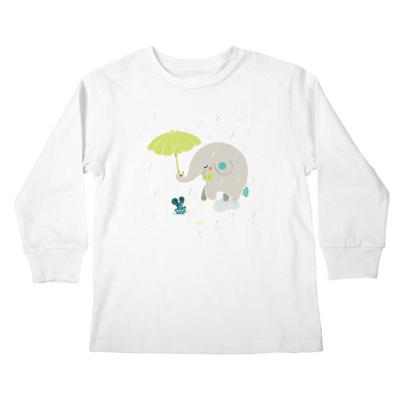 Rainy Elephant Kids Longsleeve T-Shirt by Babykarot Shop