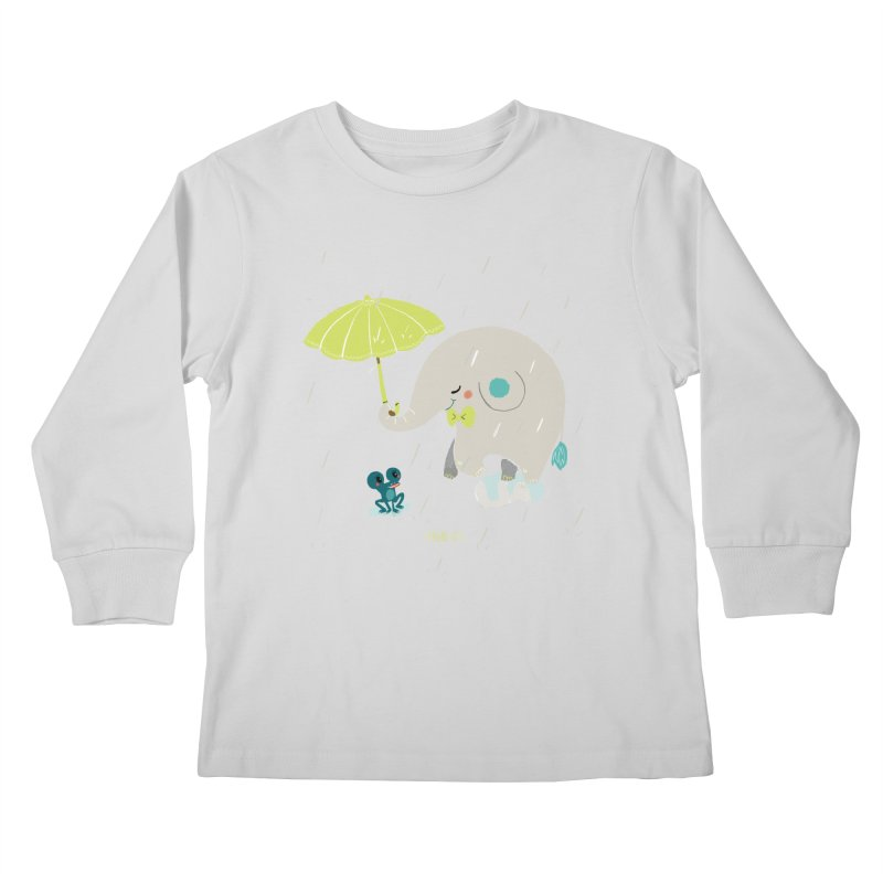 Rainy Elephant Kids Longsleeve T-Shirt by Babykarot Shop