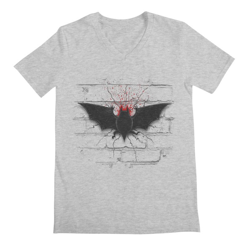 Bat Landing Men's Regular V-Neck by bada's Artist Shop
