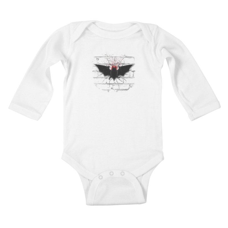 Bat Landing Kids Baby Longsleeve Bodysuit by bada's Artist Shop