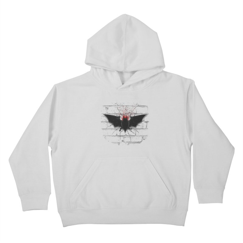 Bat Landing Kids Pullover Hoody by bada's Artist Shop