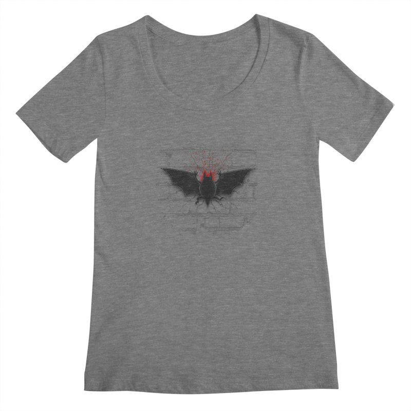 Bat Landing Women's Scoopneck by bada's Artist Shop