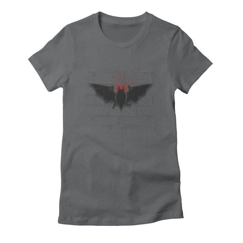 Bat Landing Women's Fitted T-Shirt by bada's Artist Shop