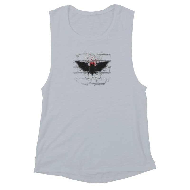 Bat Landing Women's Muscle Tank by bada's Artist Shop