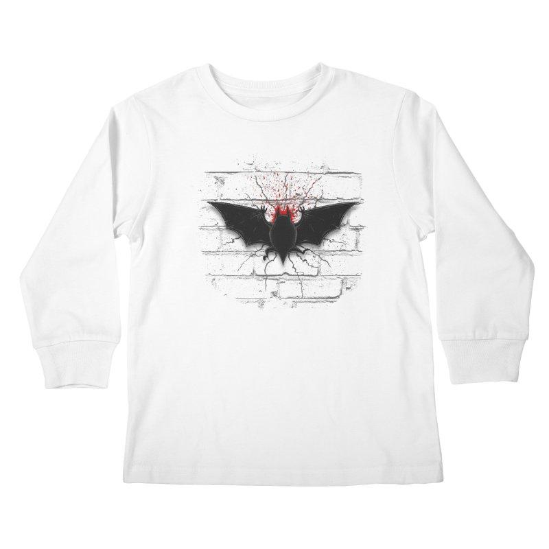 Bat Landing Kids Longsleeve T-Shirt by bada's Artist Shop