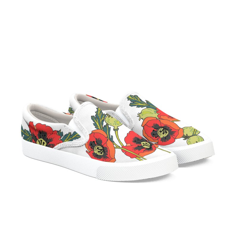 Red Poppies Women's Slip-On Shoes by bad arithmetic
