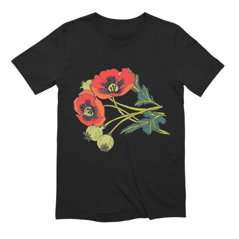 Red Poppies Men's Extra Soft T-Shirt by bad arithmetic