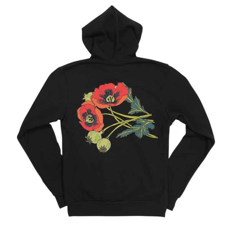 Red Poppies Women's Sponge Fleece Zip-Up Hoody by bad arithmetic