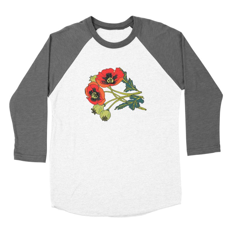 Red Poppies Men's Baseball Triblend Longsleeve T-Shirt by bad arithmetic