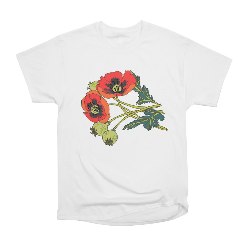Red Poppies Men's Heavyweight T-Shirt by bad arithmetic