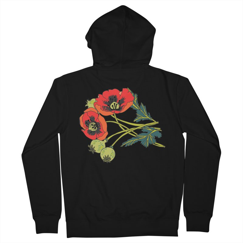 Red Poppies Men's French Terry Zip-Up Hoody by bad arithmetic