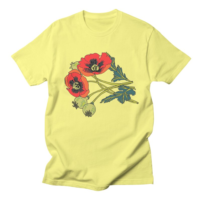 Red Poppies Men's Regular T-Shirt by bad arithmetic