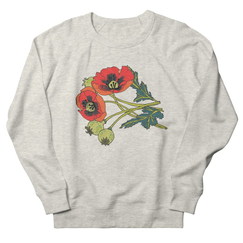 Red Poppies Women's French Terry Sweatshirt by bad arithmetic
