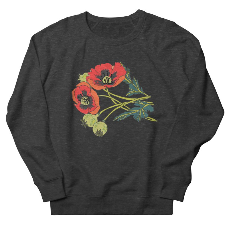 Red Poppies Men's French Terry Sweatshirt by bad arithmetic