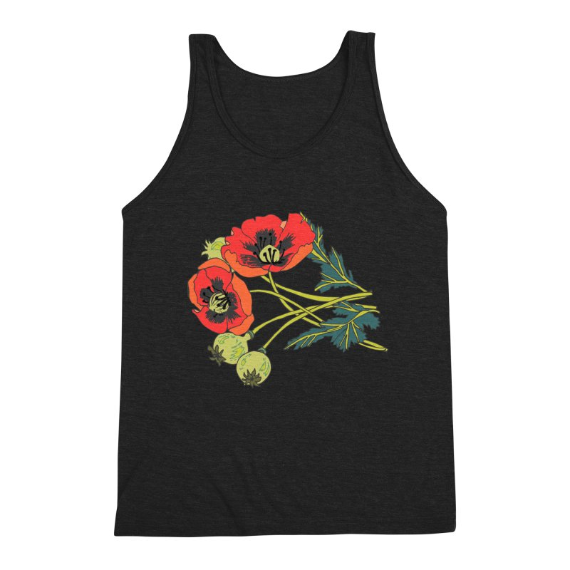 Red Poppies Men's Triblend Tank by bad arithmetic