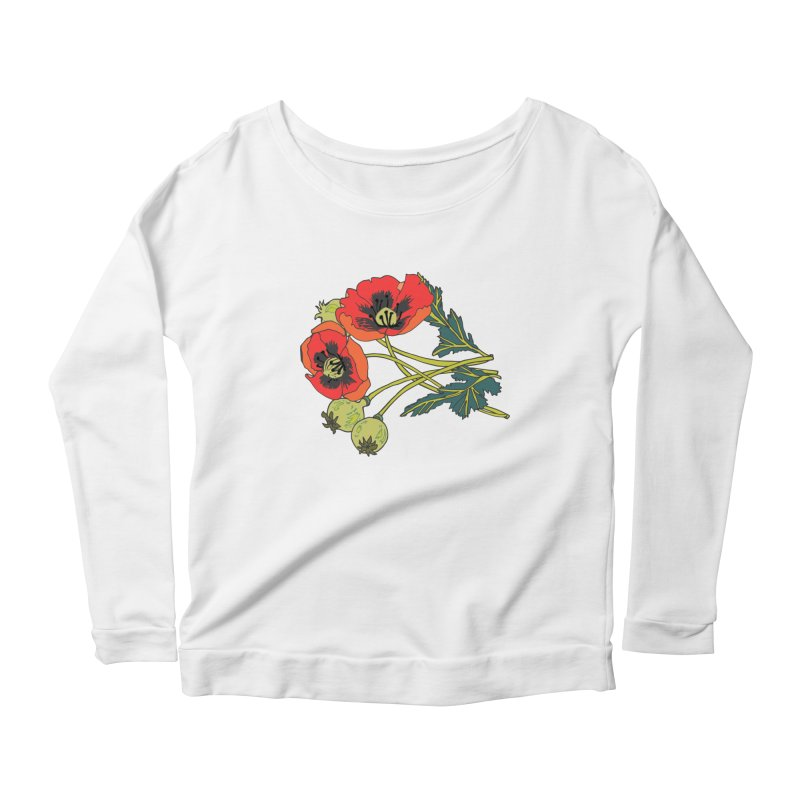 Red Poppies Women's Scoop Neck Longsleeve T-Shirt by bad arithmetic